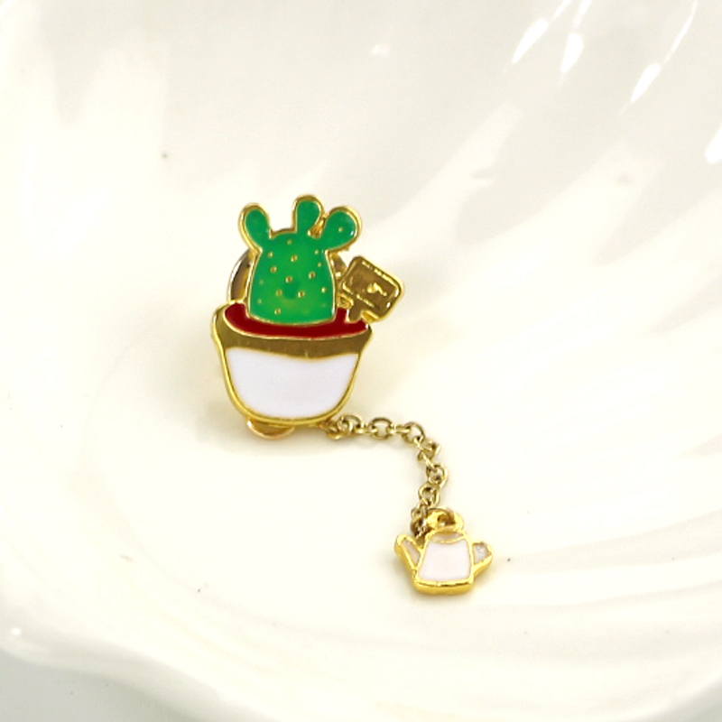 Jewelry & Accessories Cartoon Simple Cactus Green Potted Plant Kettle Enamel Pins Denim Collar Chain Dress Accessories Brooches For Women Badge