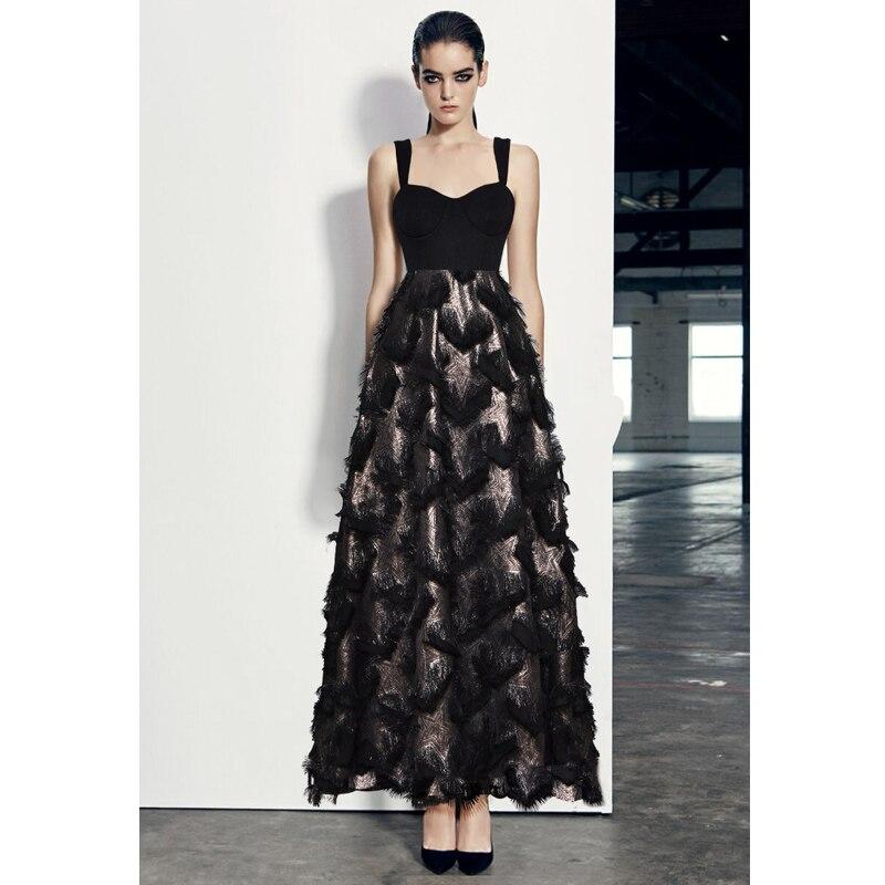 women fashion 2019 star fluffy tassel black sexy dress wide shoulder strap empire waist back zipper