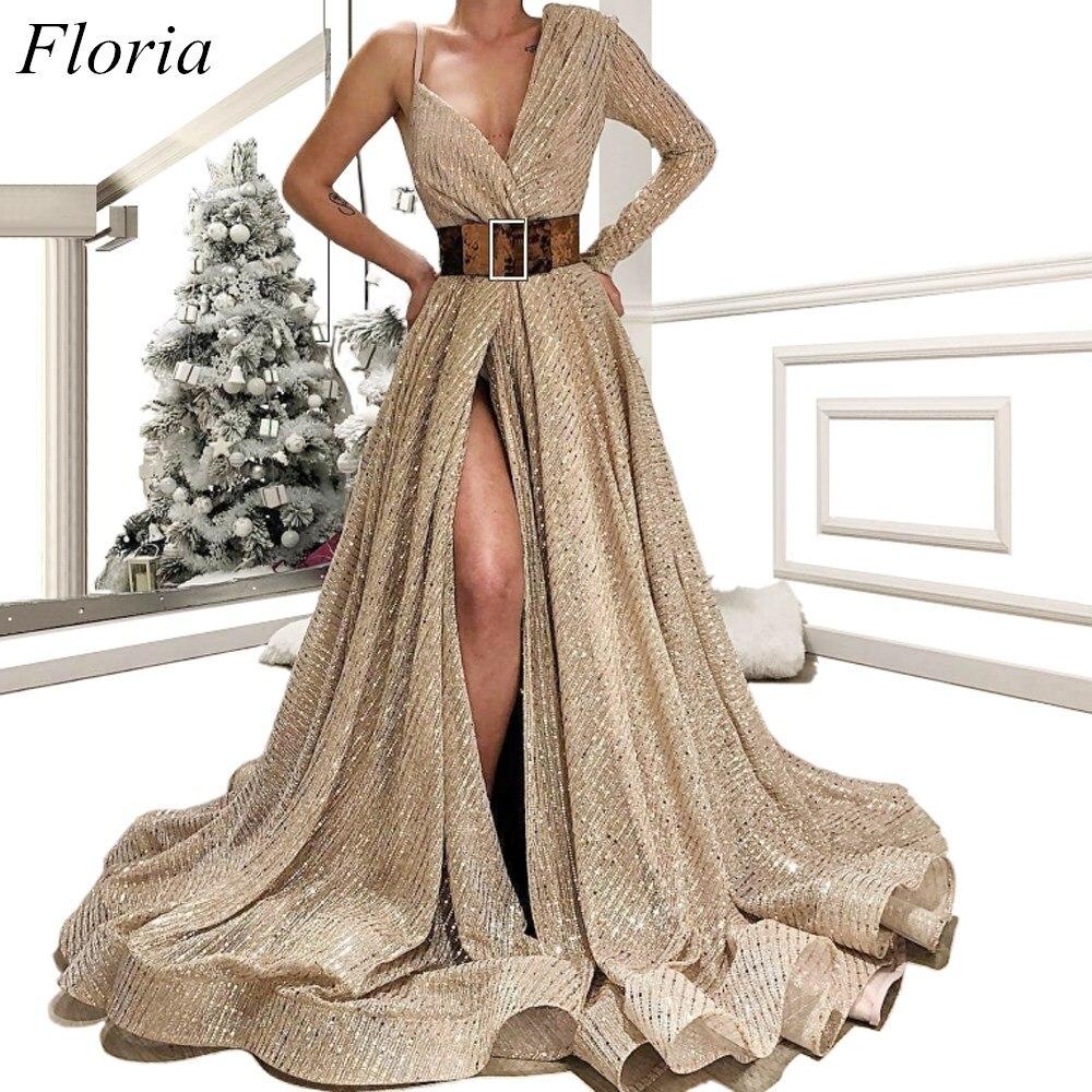 Muslim Long Formal Evening Dresses 2019 Dubai One Shoulder High Split Sexy Evening Celebrity Gowns With Sash Robe De Soiree
