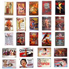 Free Beer Hot Rod Route 66 Pin Up Girls Metal Tin Signs Vintage Poster Art Painting Craft Pub Bar Home Wall Decor(China)
