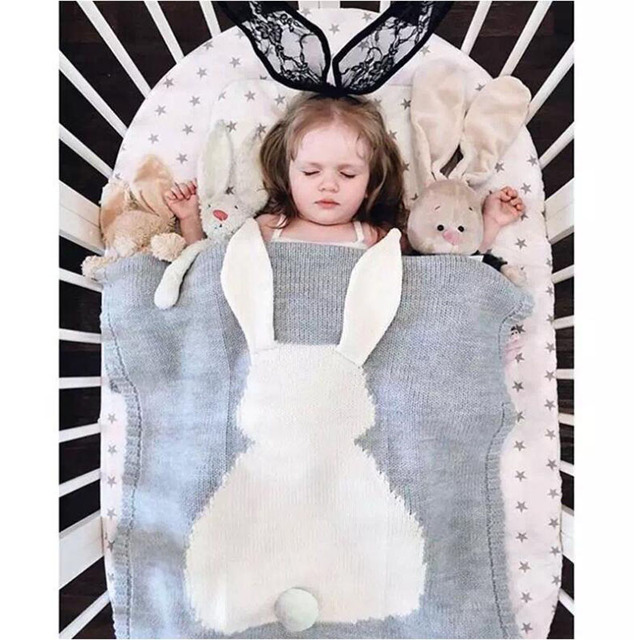 Hot Sale Winter Baby Blankets Cute Gray Pink Rabbit Knitted Baby Swaddle Blanket For Sofa Crib Pram Cot Bed  Bath Towels Gift
