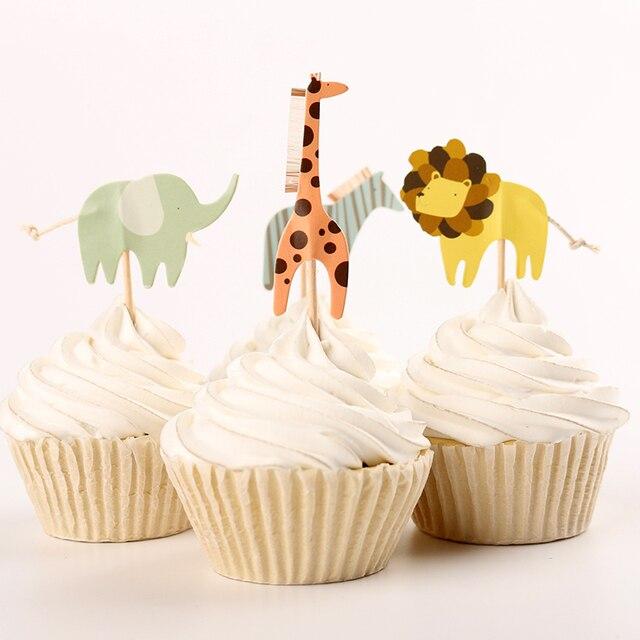 48pcs Cartoon Zoo Giraffe Elephant Zebra Lion Birthday Cake