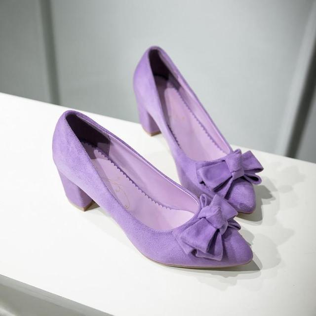 Spring 6CM medium heel Pointed Toe bow Purple Shoe Pink bow female shoe 1
