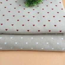 Buulqo Ретро хлопковая льняная ткань с принтом в виде сердца для самостоятельного изготовления штор скатерть для домашнего декора хлопчатобумажная ткань 50*150 см