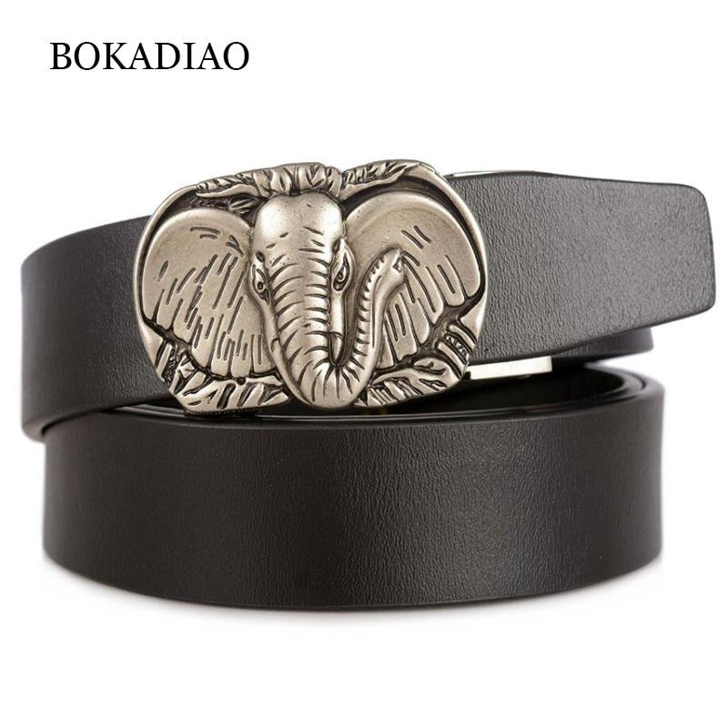 BOKADIAO Men's Genuine Leather Belt Punk Elephant Automatic Buckle Black Cowskin Belt Luxury Designer Belts For Men High Quality