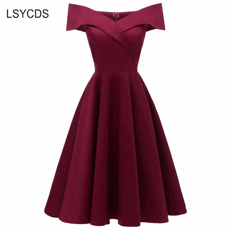 LSYCDS Sexy Off Shoulder Vintage Dresses Slash Neck Sleeveless Cotton Elastic A-Line Lady Slim Party Dresses Women Summer Dress