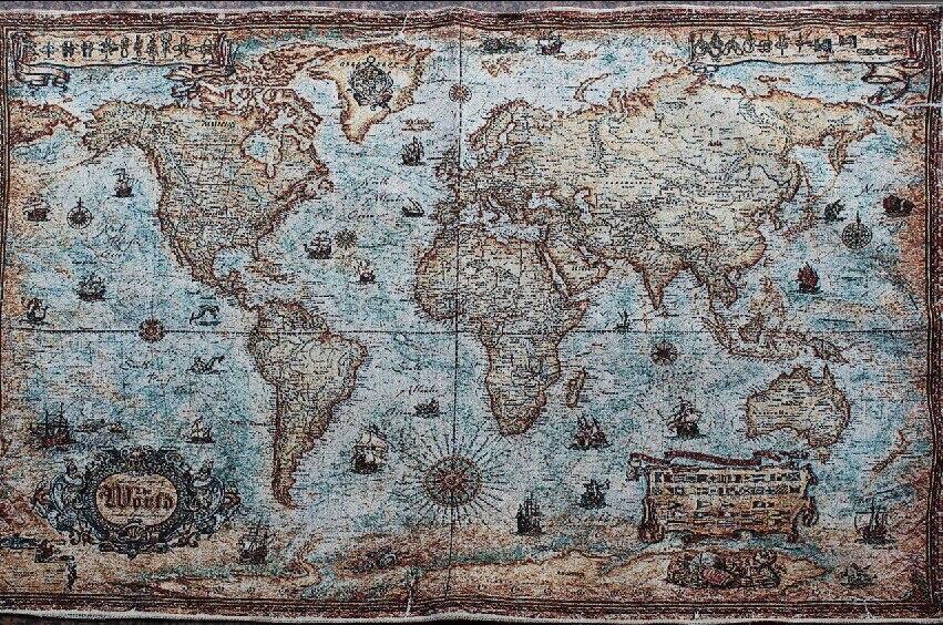 Bitcoin 今週の割引 タペストリーヴィンテージマップの世界の装飾絵画リビングルームポーチハイグレード布アート装飾画像 Fanreey