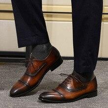70bdcb1db فيليكس تشو الفاخرة كاب تو الرجال أكسفورد الأحذية الأسود البني جلد طبيعي  الدانتيل يصل أحذية الرجال الزفاف الرسمي اللباس الأحذية ح.