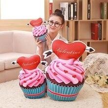 Lindo encantador dulce creativo 3D Pastel de juguetes de peluche Cojín creativo muebles para el hogar regalo de cumpleaños niñas al por mayor FG239