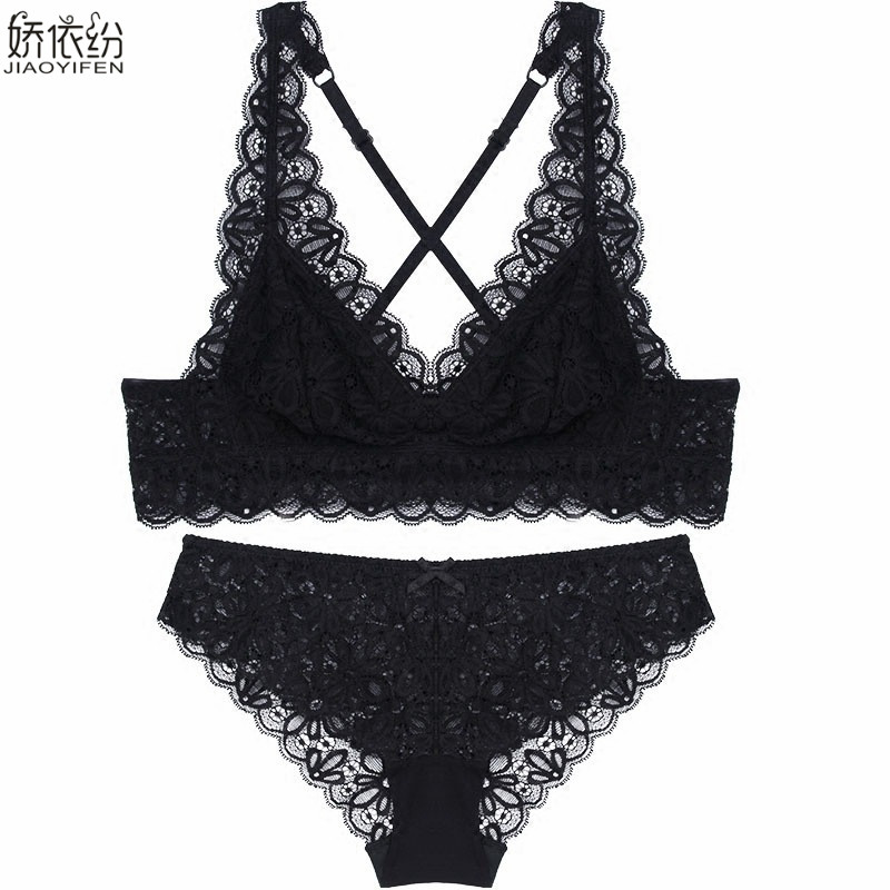 Image 3 - French Sexy Lace Ultra thin Bralette Back Type X Straps Comfortable Women's Underwear Elasticity Triangle Cup Push Up Bra Set-in Bra & Brief Sets from Underwear & Sleepwears
