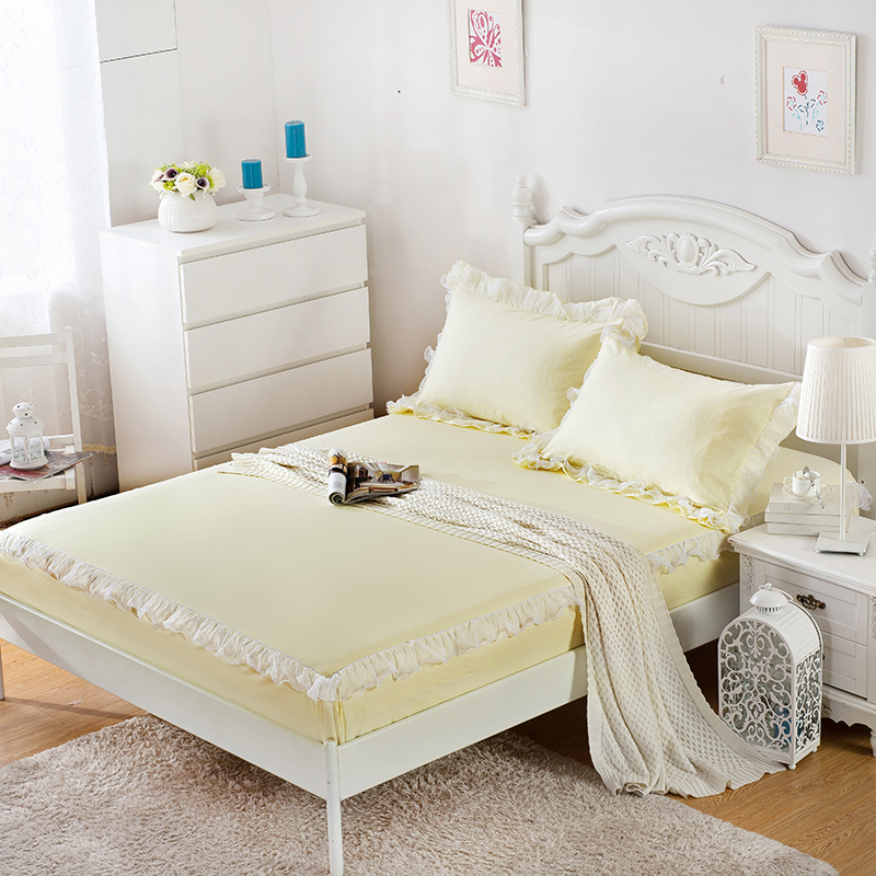 3pieces lace edge cotton bed sheet sets fitted bed sheet queen size king size