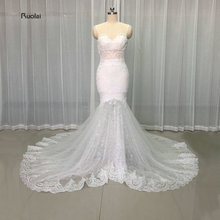 2017 Real Sample Sexy Mermaid Lace Wedding Dresses Sweetheart Applique Pearls Open Back Spaghetti Straps Bridal Gown Custom Made