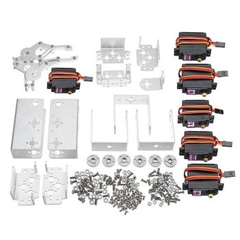 Aluminium 6Dof Arm Mechanical Robotic Arm Clamp Claw Mount Kit W/Servos Servo Horn For for Arduino-Silver