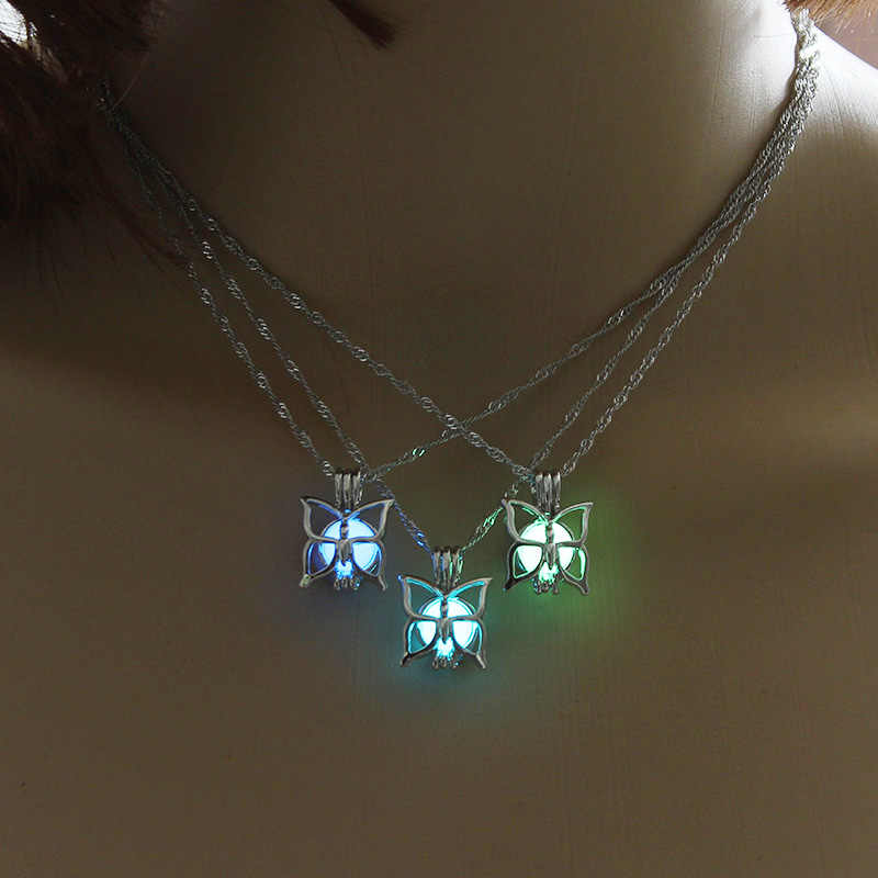 Glowing Butterfly Women Pendant Necklace Cute Luminous Stone Pendant Jewelry Glow Stone Women Necklace