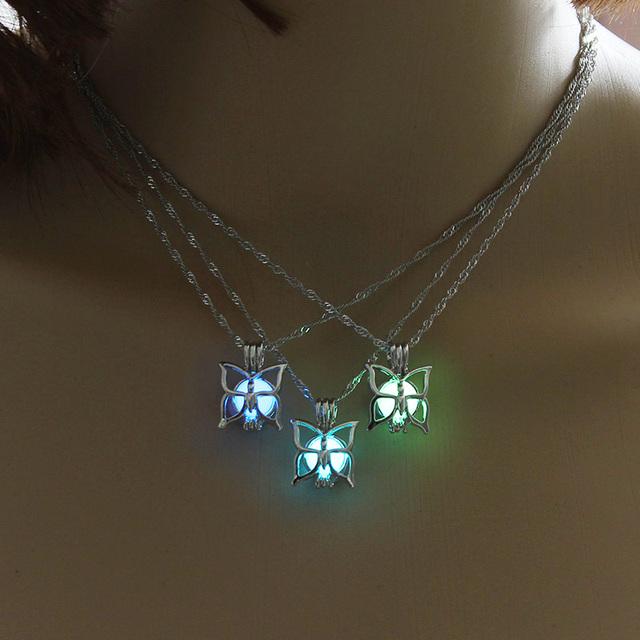 Glowing Butterfly Women Pendant Necklace Cute Luminous Stone Pendant Jewelry Glow Stone Women Necklace