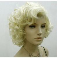 Parrucca perruque parrucche M Arilyn Monroeสั้นสีบลอนด์หยักสีน้ำตาล