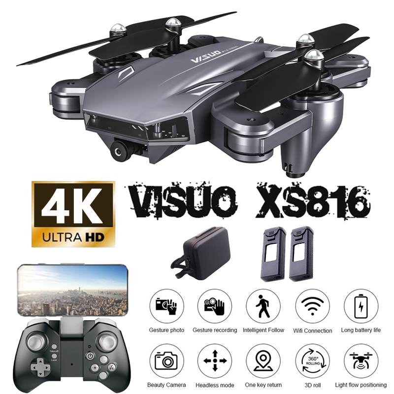 Visuo XS816 Drone 4K With Camera HD Helicopter WiFi FPV Optical Flow Positioning Foldable Dual Camera Selfie Drone RC Quadcopter image