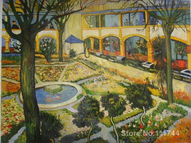 Garden Of Hospital In Arles Vincent Van Gogh Famous Paintings Oil Canvas  Reproduction High Quality Hand