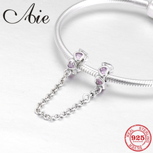 100% real 925 Sterling Silver DIY for pink heart CZ Safety Chain Beads Fit Original Pandora Charms Bracelet Jewelry making