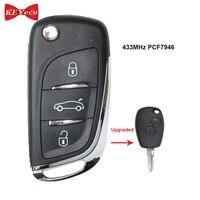 Keyecu アップグレードフリップリモート車のキー 2 ボタン 433MHz PCF7946 ルノークリオカングーメガーヌセニックマスターモデュス 2006  2010|車のキー|   -