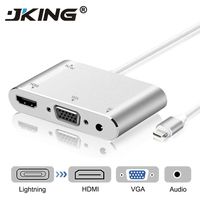 JKING High Quality HDTV OTG Cable For Lightning to HDMI VGA AV Audio Vidio Adapter For iPhone x 8 7 6plus For iPad Air/mini/pro