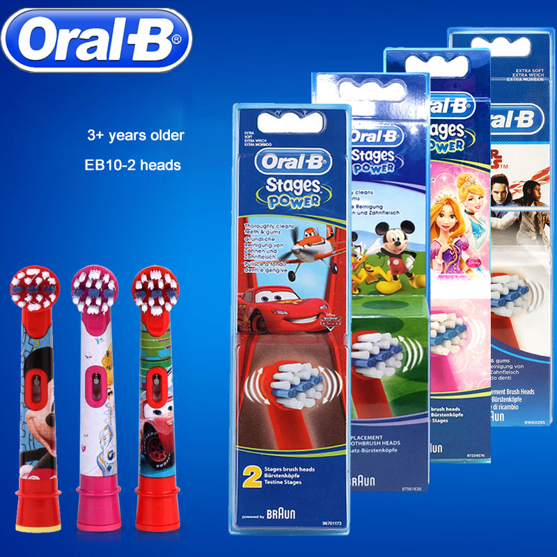 TYPE EB-10 2 Pcs Oral B Children Toothbrush Heads Soft-Bristled For Cross Action Replacement Spare Tooth Brush Heads image