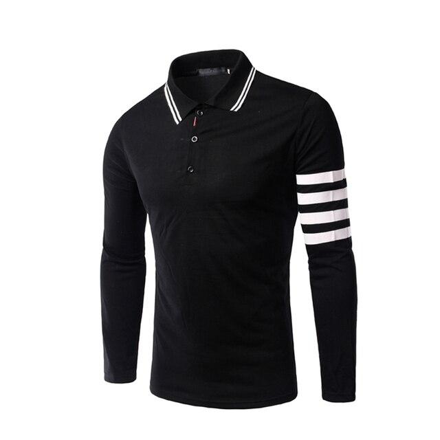 Los hombres Camisas de Polo de 2016 Nuevos de Manga Larga Delgado Ropa Casual Masculina Camisa Polo Masculina Moda Masculina de Alta Calidad Tops 2XL