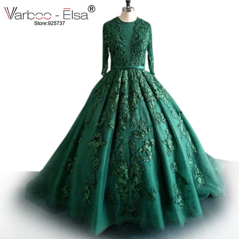 VARBOO_ELSA Sexy Hunter Green Evening Dress 2018 Long Sleeve Lace Applique pearls Evening Gown Formal Prom Party Dress Ball Gown