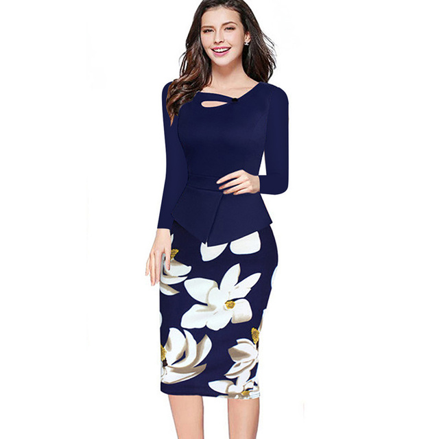 2017 New Autumn Winter Women Floral Print Patchwork Working Sheath Long Sleeve Bodycon Office Plus Size 4XL 5XL Pencil Dress