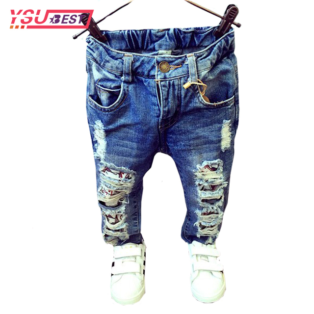 5c7e66294bc 2-7Yrs Children Broken Hole Pants Trousers 2019 Baby Boys Girls Jeans Brand  Fashion Children Clothing Spring Kids Trousers