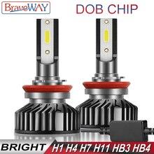 BraveWay DOB Chip LED Bulb H4 H7 H8 H11 HB3 HB4 H1 LED Kit Headlight Bulb for Car nebbia tetris lamp H4 H7 LED Canbus Auto Light 18pcs cob h1 h4 h7 h11 hb3 hb4 led coche faros bombillas 18w 6000 k s7 auto faro luz de niebla 9 v led h7 fa