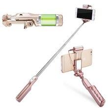 Alta calidad 18.5 cm-84 cm bluetooth selfie stick con luz led-lámpara de compensación 1500 mah portátil monopie para iphone android