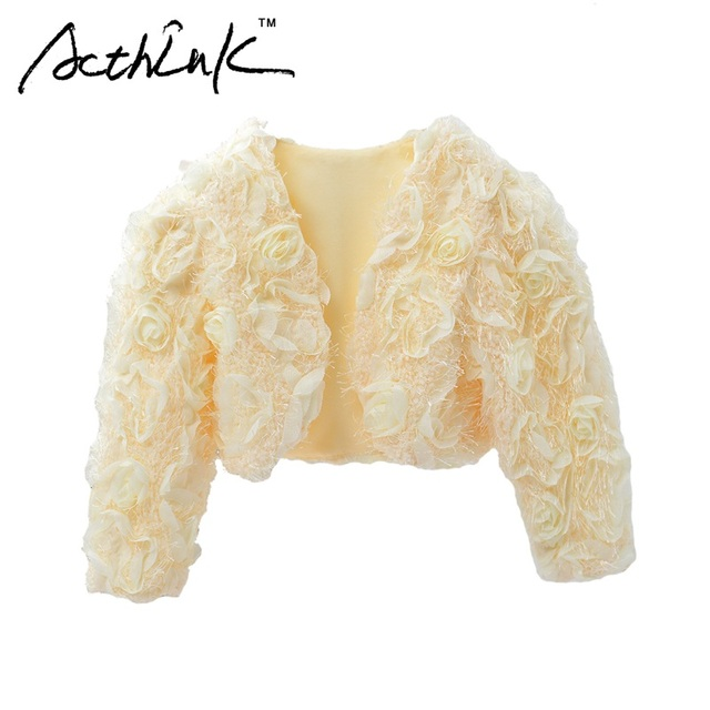 ActhInK Girls Flower Petals Long Sleeve Weddings Bolero Brand Princess Style 4 Color Girls Formal Party Floral Waistcoats, MC091