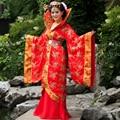 Traje chino juego de la espiga hanfu tren reina ropa de traje de hadas turtle neck paillette femenino traje usure de la escena