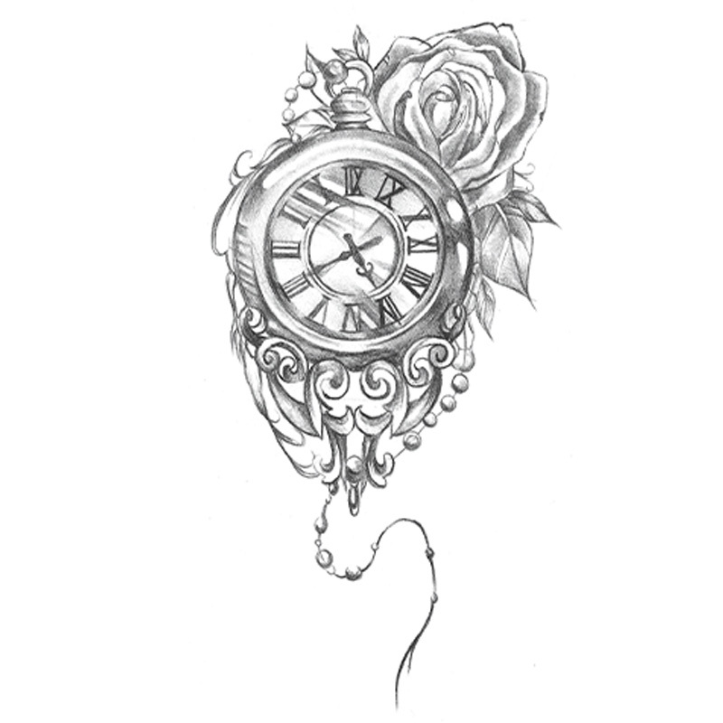 Waterproof Temporary Tattoo Stickers Cute Rome Clock Flowers Designs