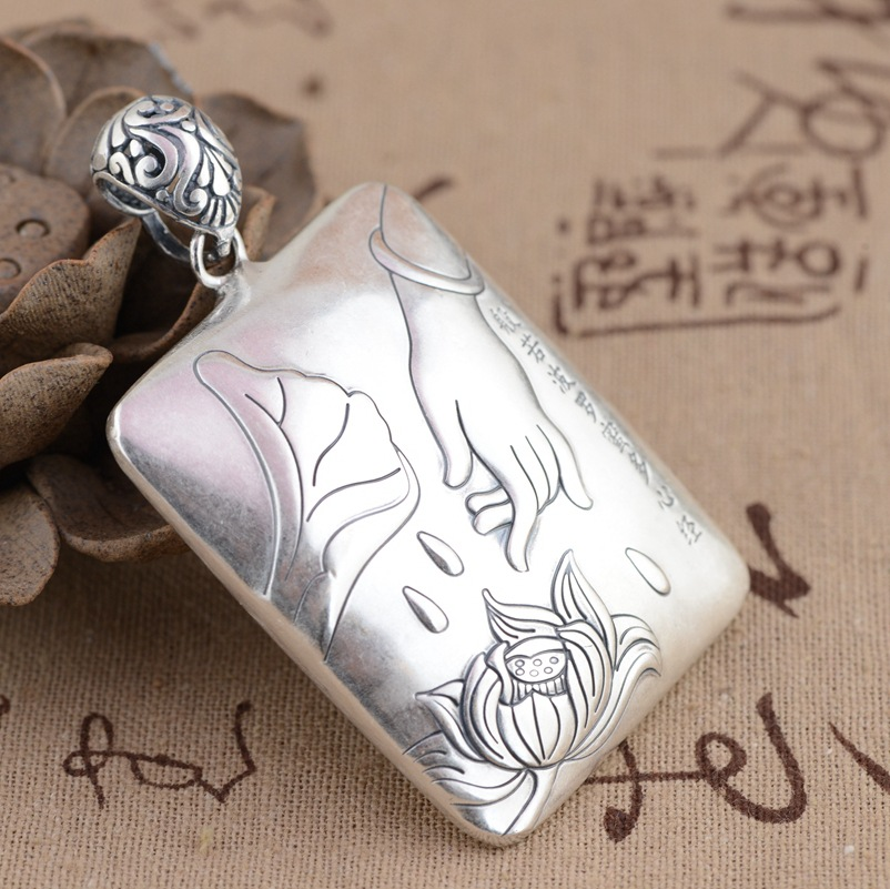 [Argent] argent roi cerf en gros S990 Zuyin boluomiduo theheart Sutra Style Antique