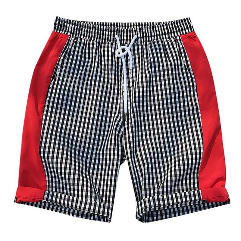 Men's Shorts Streetwear Beach-Fit Black White Sport Casual Fashion Summer New Patchwork