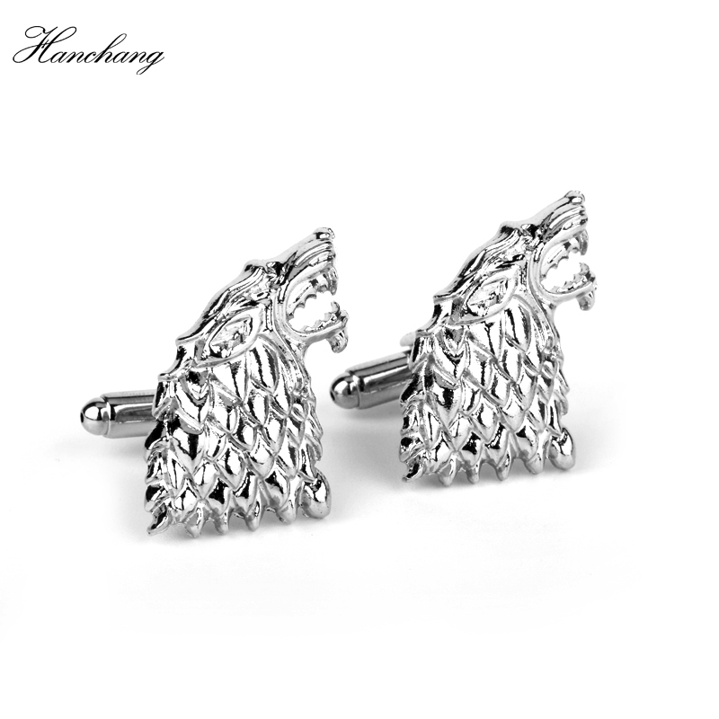 HANCHANG Movie Game of Thrones Jewelry Stark <font><b>Wolf</b></font> Head <font><b>Cufflinks</b></font> French Men Shirts <font><b>CuffLink</b></font> Wedding Party Luxury <font><b>Cufflinks</b></font> Gift image