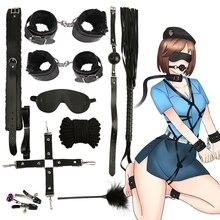 Горячая 10 шт./партия наручники Полицейские Косплей инструменты игрушки для набора наручники зажимы для сосков кляп кнут Веревка Секс игрушки для пар