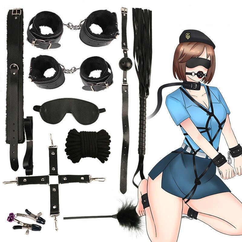 Caliente 10 unids/set esposas policía Cosplay herramientas juguetes para juego de esposas pezones abrazaderas Gag látigo cuerda juguetes sexuales para parejas