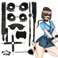 HOT 10 pièces/ensemble menottes police Cosplay outils jouets pour ensemble menottes mamelon pinces Gag fouet corde Sex Toys pour Couples