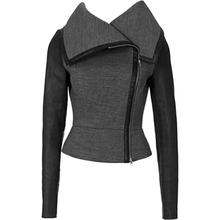 Grey faux leather PU Jacket Women  fashion rose Winter AutumnMotorcycle Black Coat Outerwear Gothic