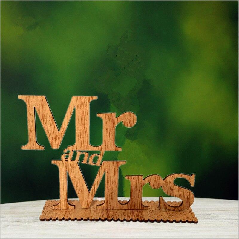 Деревянные письмо свадьба знак мистер и миссис свадебный торт Топпер для деревенский Свадебные украшения поставки