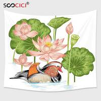 Cutom Tapestry Wall Hanging,Duck Baby Mandarin Duckling in Pond with Lotus Lily Flowers Water Painting Style Arsty Print White
