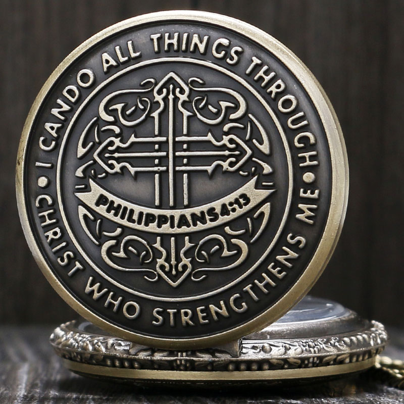 Vintage I Can Do All Things Through Christ Who Strengthens Me Bible Philippians 4:13 Quartz Pocket Watch Necklace Clock Gifts