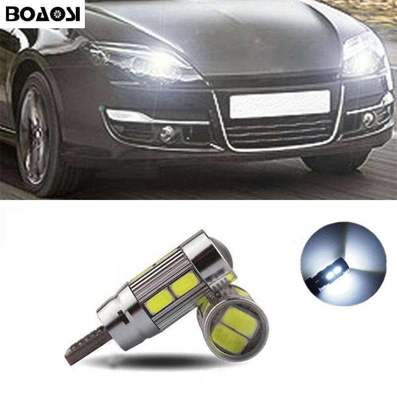 BOAOSI 2x T10 W5W 5630smd LED Clearance Light with Projector Lens for renault megane 2 duster logan clio laguna 2 Koleos