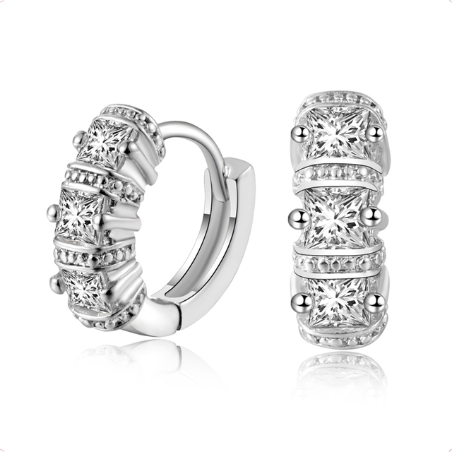 Fashion 18k White Gold Filled Women Bright Cz Cubic Zirconia Beautiful Small Hoop Earrings For
