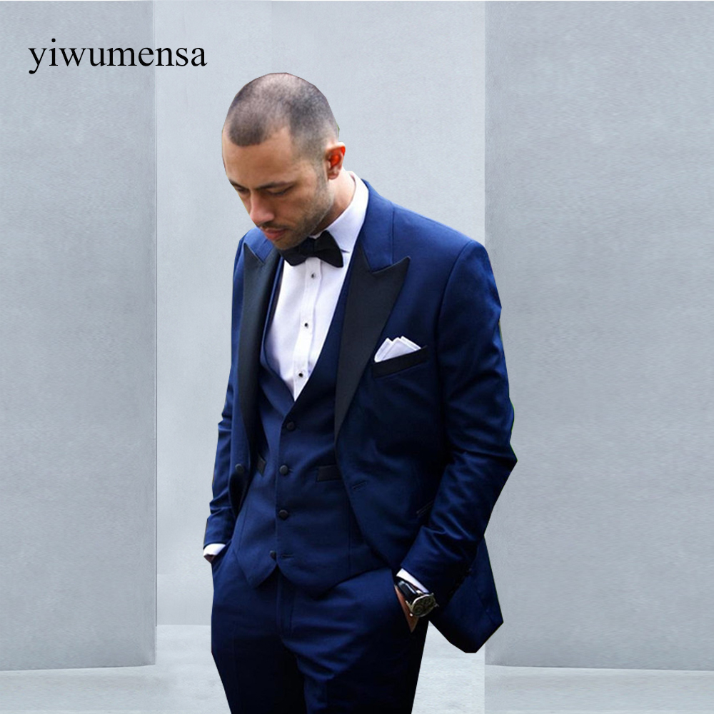 yiwumensa 2018 Skyfall Navy Blue Groom Suit Custom Made Men Wedding ...