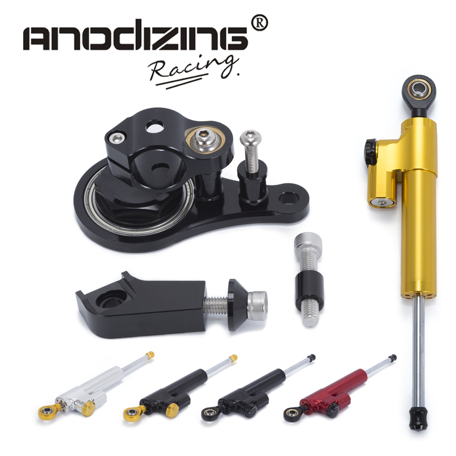 Motorcycle CNC Steering Damper Stabilizerlinear Reversed Safety Control with Bracket For Kawasaki ZX6R 2005 2006 ZX-6R gt motor motorcycle cnc steering damper stabilizerlinear reversed safety control with bracket for yamaha mt09 mt 09 fz 09 13 17