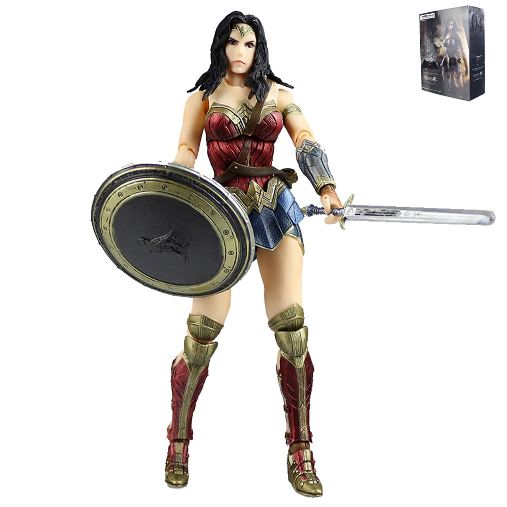 Play Arts Kai No.4 Wonder Woman Action Figure Dawn of Justice PVC Toys Batman V Superman Model for Kids Collection PAK001049 play arts kai batman v superman dawn of justice no 3 armored batman pvc action figure collectible model toy 25cm